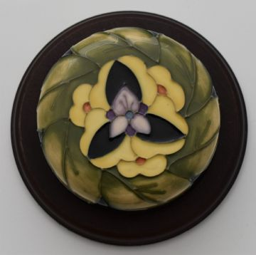 Moorcroft Pottery Paperweight With Floral Design